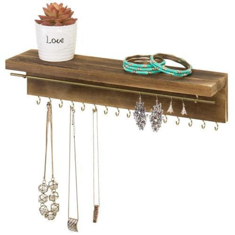 Modern Wood /& Brass Jewelry Display Rack with Shelf