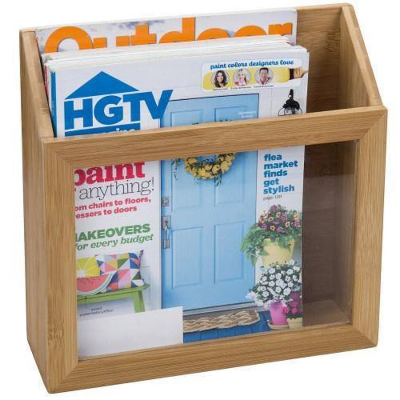 Desk Organizer for Office Natural Bamboo /& Clear Acrylic Document or Magazine Organizer