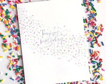 Sprinkles Birthday Card - Happy Birthday Card - Watercolor Greeting Card - Birthday Confetti Card - Best Friend Card - Simple Birthday Card