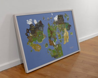 runescape world map poster Runescape Map Etsy
