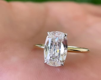 5CT Iced Moissanite Engagement Ring Elongated Cushion Ring Bridal Ring 14k Gold Ring Anniversary Ring For Women Matching Ring Forever Ring