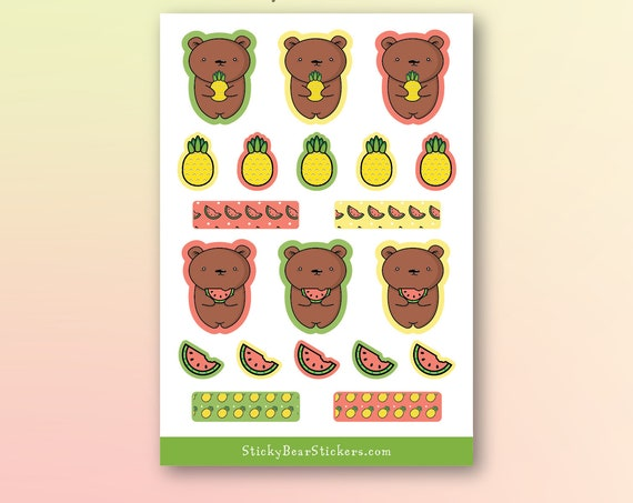 Cute Bear with Tropical Fruits Sticker Sheet / Planner Stickers