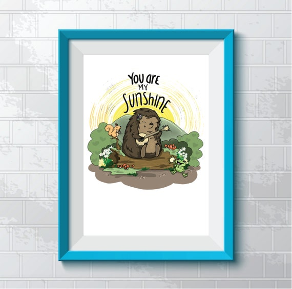 Banjo-playing Hedgehog - Art Print