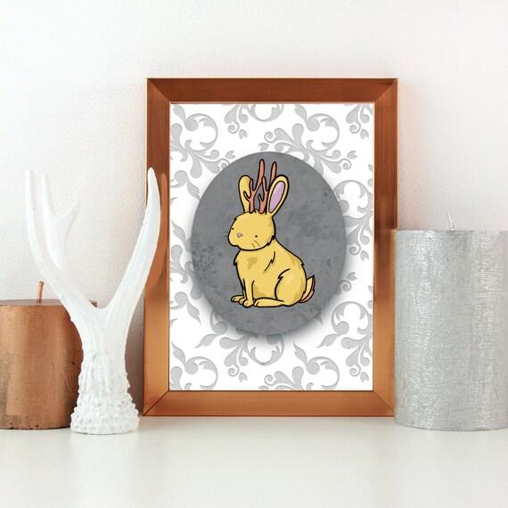 Jackolope / Bunny / Rabbit / Pattern Art Print