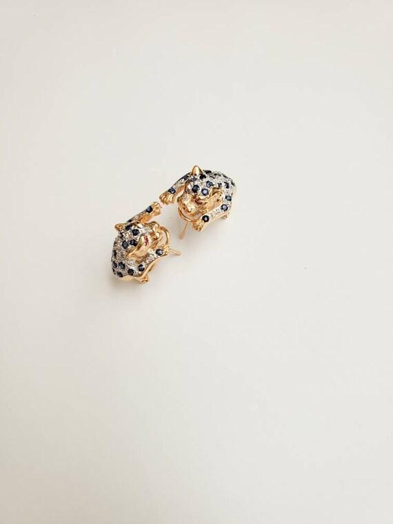 Jaguar Diamond Sapphire Ruby 14KT Yellow and White