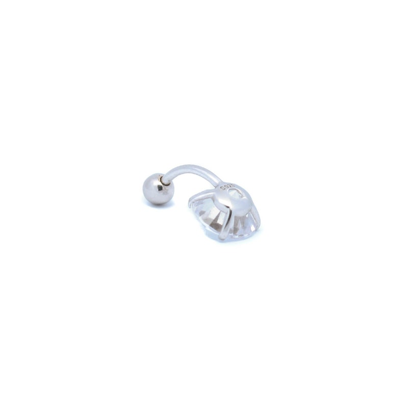 6mm 14 8mm 516 10mm 38 Solid 925 Silver Solitaire Stone Belly Ring with Cubic Zirconia