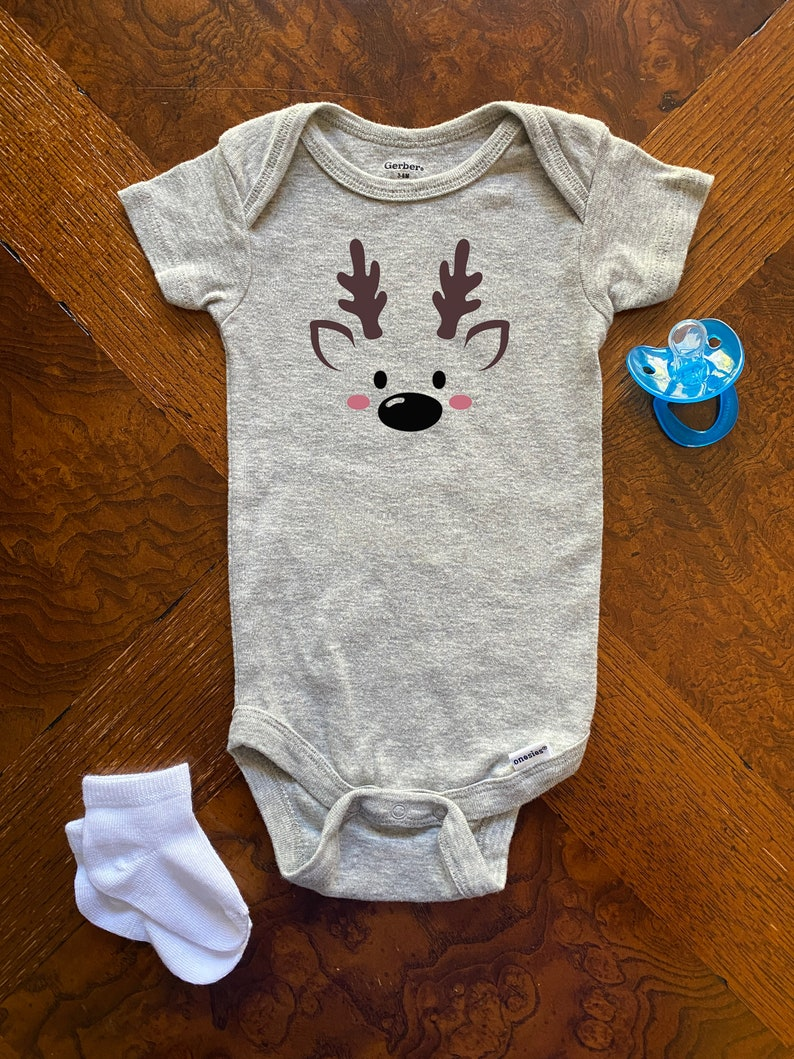 Christmas Onesie Winter Onesie Reindeer Gerber Baby Onesie Cute Baby Onesie Baby/'s First Christmas Baby Bodysuit -
