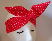 1940s Hair Snoods- Buy, Knit, Crochet or Sew a Snood Red With White Polka Dot Wired Headband Retro Pinup Rockabilly Hair Accessory $9.67 AT vintagedancer.com