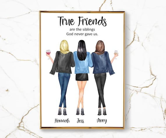 Friendship Gift For 3 Best Friends Print Three Best Friends Etsy