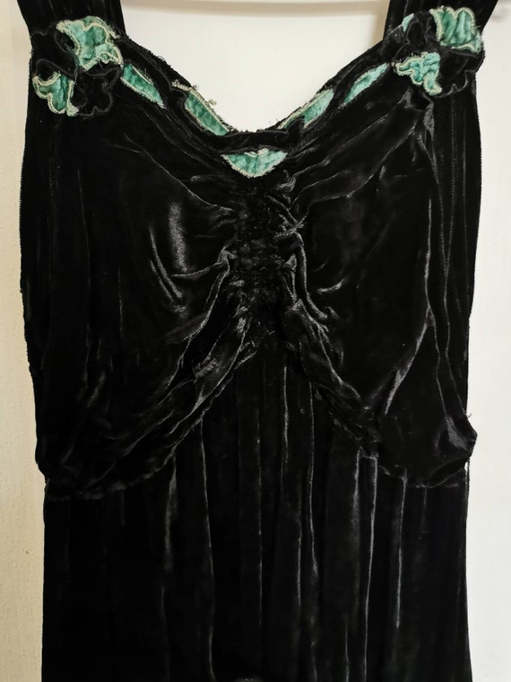 Antique 1920s Velvet and Tulle Maxi Dress/ Matchin