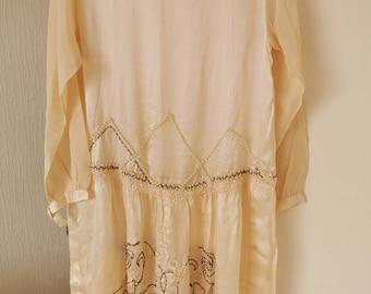 Rare 1920s embellished cream silk flapper dress as is, jazz age, silk chiffon,hand embroidery, 20s flapper dress, wedding,Downton Abbey