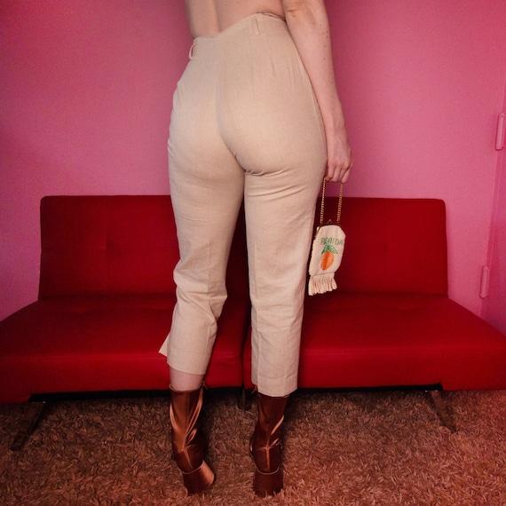 Oatmeal linen blend trousers - image 3