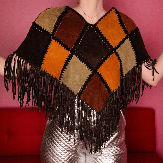 Leather patchwork poncho with fringe