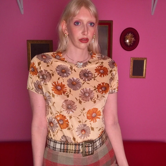 1970s polyester floral top