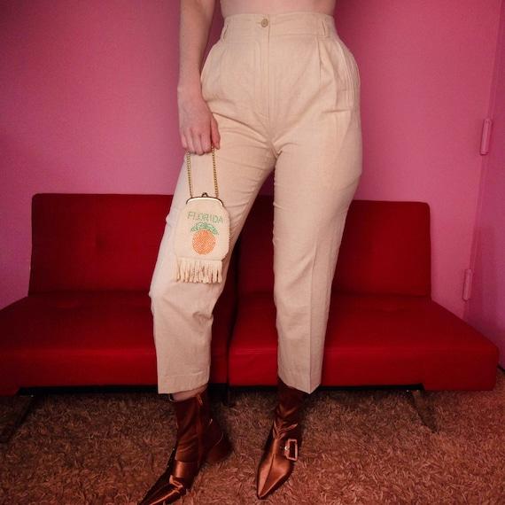 Oatmeal linen blend trousers - image 4