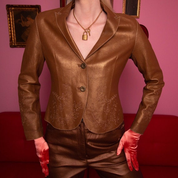 Bronze embroidered leather jacket