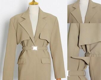 Coat For WomenFrenchElegant Women/'s SuitSuit For WomenSuit collar spliced leather windbreaker khaki coat coatVintage dress with belt