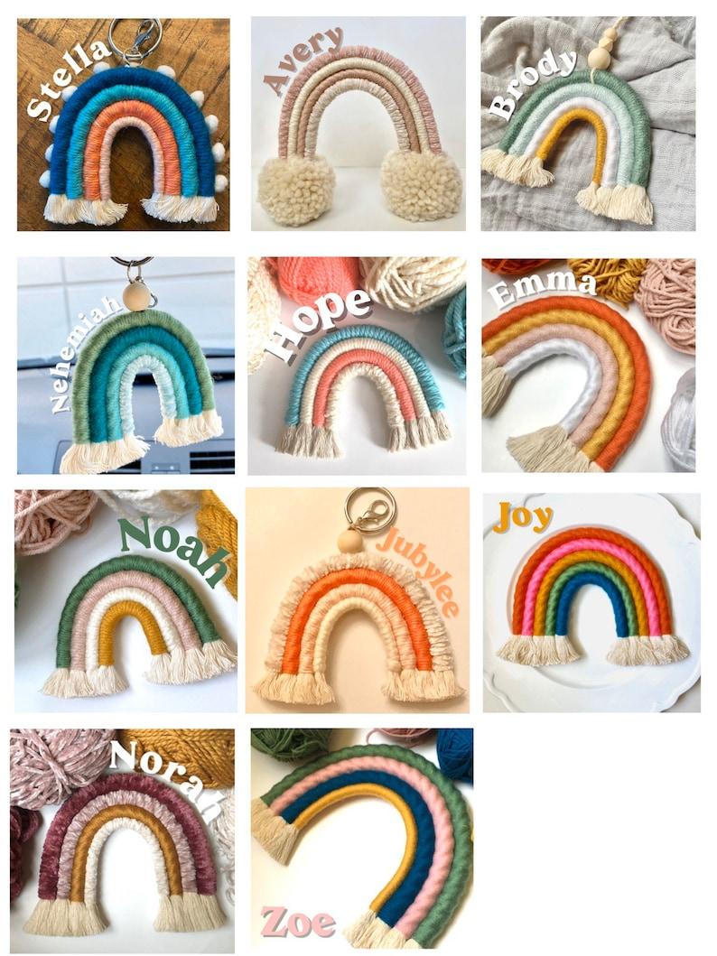 Handmade Keychain Macrame Rainbow Rainbow car charm Macrame Keyring Rainbow Keychain or Bag Charm Car mirror hanging accessory