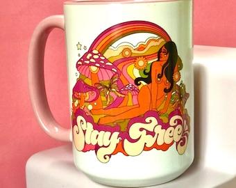 Stay Free Pink Lined Mug