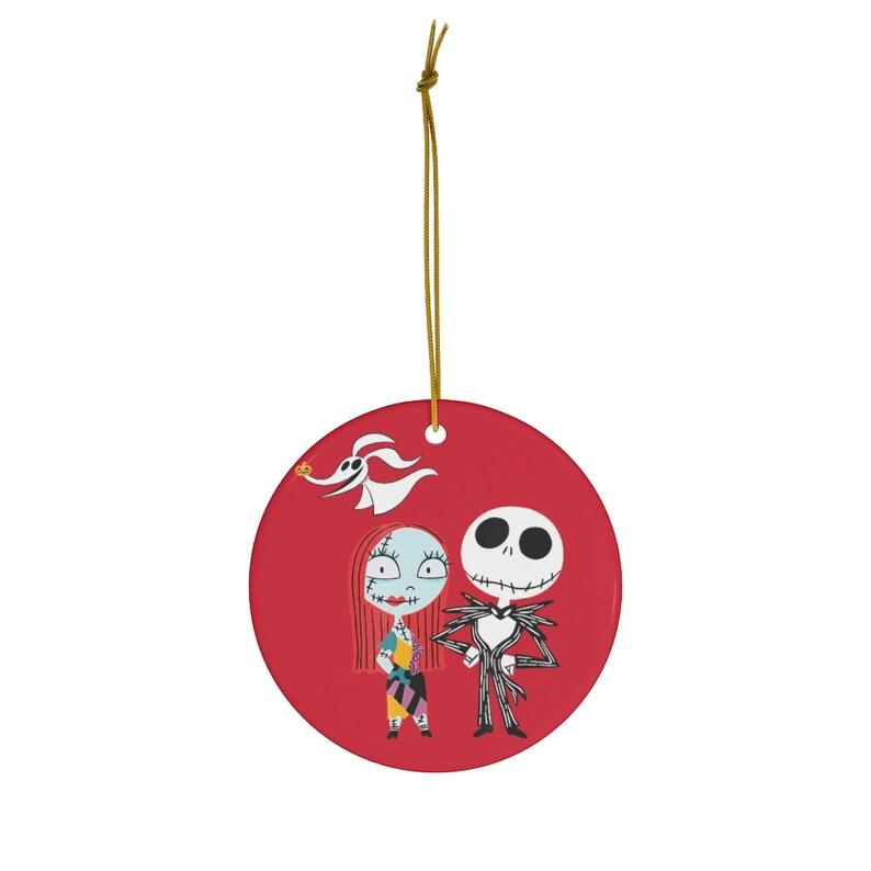 Disney Nightmare Before Christmas Jack and Sally Christmas Round Ceramic Ornaments
