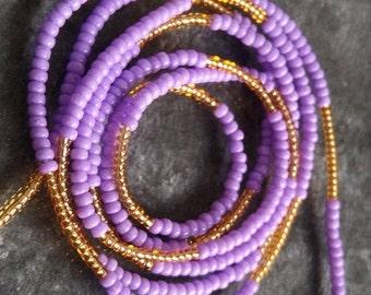 30pcs Purple /& Gold-Lined Star Czech Glass Tube Beads 6x4mm GB766