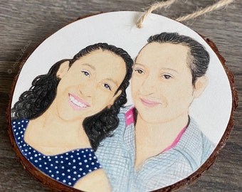 Personalized Father's Day Gift, Custom Portrait Ornament, Gift for Dad from Daughter, Dad and Children Portrait