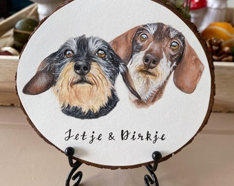Double/Multiple Pet Portrait Wood Slice With Stand, Hand Painted Gift for Pet Lovers, Shelf/Desk Decor
