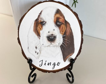 Custom Pet Portrait Ornament, Hand Painted Wood Slice WITH STAND, Gift for Pet Lovers and Owners, Gift for Loss of Pet, Shelf/Desk Decor
