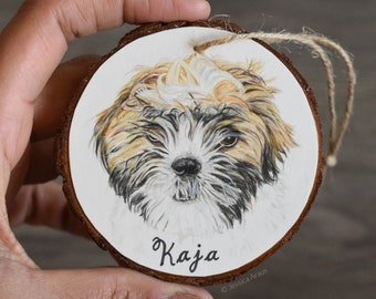 Custom Dog Portrait Ornament, Wood Slice, Gift for Dog Lover or Owner, Dog Loss Gift, Dog Memorial, Gift for Dog Dad, Father's Day Gift