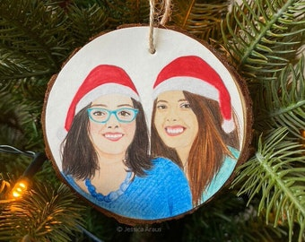 Personalized Family Portrait Ornament with Christmas Hats, Wood Circle Ornament, Hand Painted, Christmas Tree Ornaments