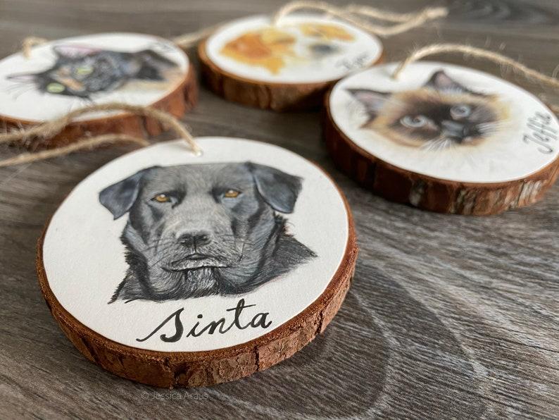 Custom Pet Portrait Wood Slice Ornament Gift for Pet Lovers image 0
