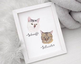 Custom Cat Portrait With Your Cat's Name, Hand Painted, Gift for Cat Lover or Cat Owner, Cat Loss Gift, Cat Memorial, Cat Sympathy Gift