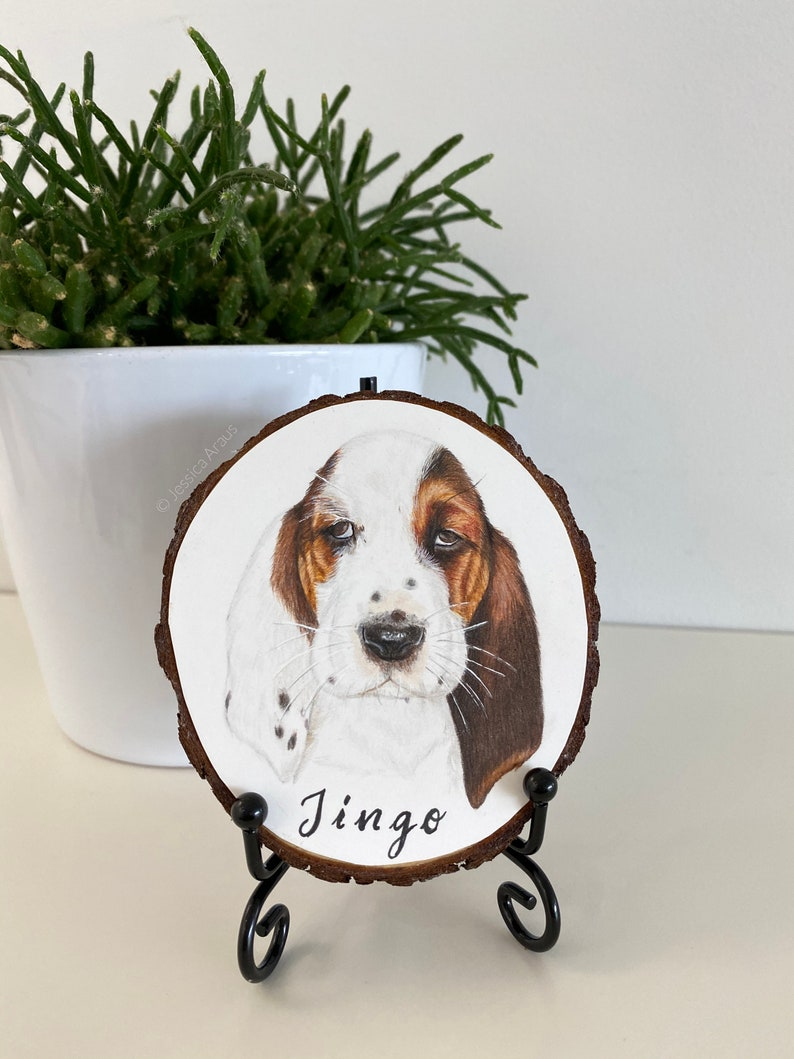 Custom Pet Portrait Ornament Hand Painted Wood Slice WITH image 0