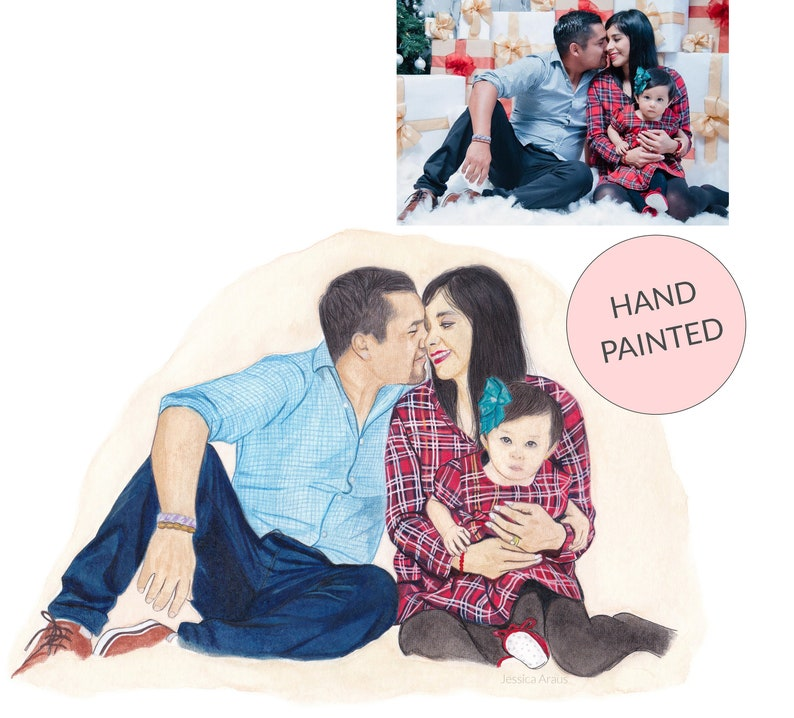 Custom Family Portrait from Photo Handpainted Family Wall image 0