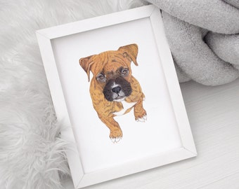Custom Pet Portrait With Your Pet's Name, Hand Painted, Gift for Pet Lovers, Gift for Pet Owner, Pet Memorial Gift, Pet Loss Gift