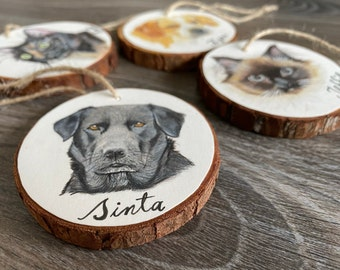 Custom Pet Portrait, Wood Slice Ornament, Gift for Pet Lovers and Owners, Pet Memorial, Pet Keepsake, Pet Loss Gift, Pet Sympathy Gift