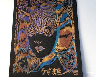 One of a kind Japanese Horror Manga - hand made screen print
