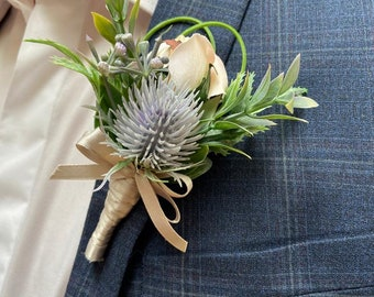 Gents Artificial Faux LavenderGrey Thistle Buttonhole
