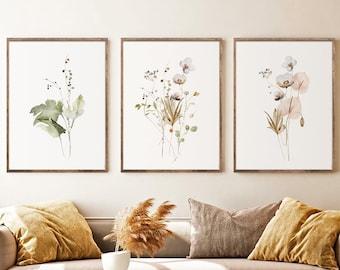 Watercolor Botanical Print Set of 3, Gallery Wall art, Floral Printable Art, Wild Flowers Art Floral Line Art, Modern Home Decor Art