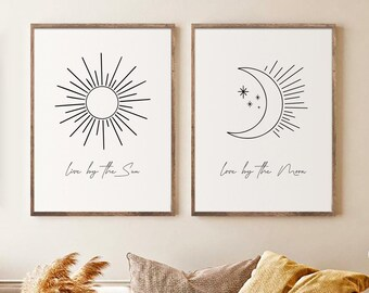 Live by the Sun Boho Wall Art Printable Love by the Moon