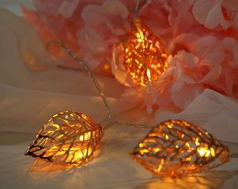 5FT Warm White 10 LEDs Metal Leaf Lights, Fairy String Lights, Battery Operated Lights, Indoor String Lights, Christmas Lights - Rose Gold
