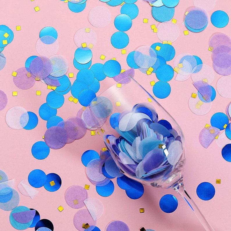 Confetti Circles Party Confetti \u2013Purple,Blue, Graduation Confetti Balloon Confetti Tissue Paper /& Foil Table Confetti Mix 18 Grams