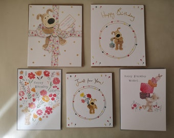 Mixed Female Designs Cute/Boofle Birthday Greeting Card Pack of 5 cards