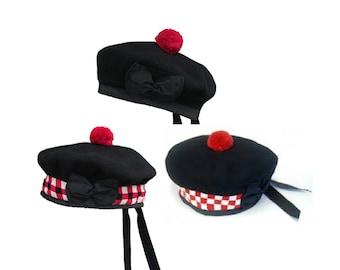 Pure Wool Scottish Balmoral Hat/Bonnet - Plain Black, Red Toorie, Ribbons ( Kilt Attire)