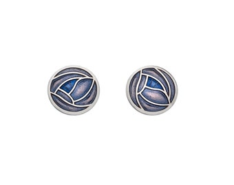 Charles Rennie Mackintosh Art Deco Earrings Sterling Silver 925 Sea Gems Fine Enamels Jewellery and Gifts Gift Box Included