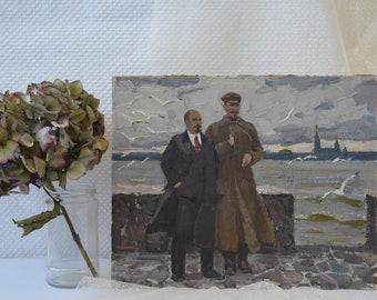 Mid Century original oil painting. By Soviet artist. Lenin talks with Dzerdzhinsky at the pier. Socialist realist. Fine art. One of a kind.