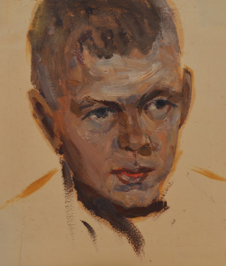 Kovtun.Impressionist portrait of a boy in beige and brown shades.One of a kind Mid Century original oil painting.By honored Soviet artist P