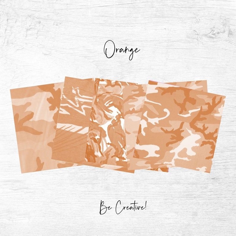 Set of 20 Papers For Personal /& Commercial Projects Orange Camouflage Fabric Textures Background Papers Digital Download