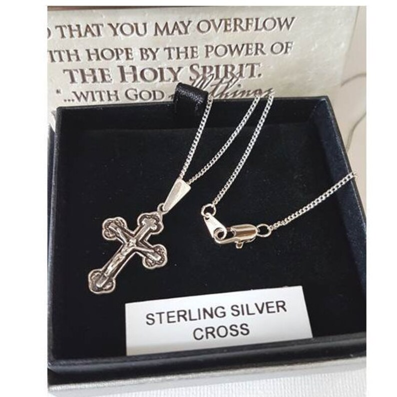 Sterling Silver Jerusalem CrossSilver Orthodox CrucifixSterling Orthodox Cross for Children and YouthLadies Sterling Budded Cross