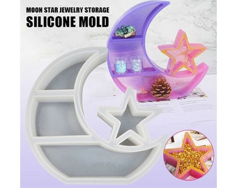 Tray Mold with Moon Star Pattern Jewelry Trinket Holder Mold Round Dish Mold DIY Home Decor Oval Dish Mold Oval Round Tray Resin Mold